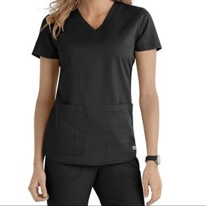 Grey's Anatomy V Neck Scrub Top in Black XS